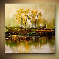 Abstract art by Osnat Tzadok - bunch of trees reflected in swamp