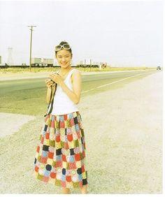蒼井優 Girl Fashion Style, Mori Girl Fashion, Fashion Design, Sweet Girls, Cute Girls, Yu Aoi, Square Skirt, Hula Girl, Beautiful Figure