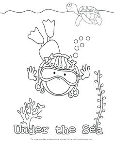 Kid Color Pages Under The Sea Swimming Girl