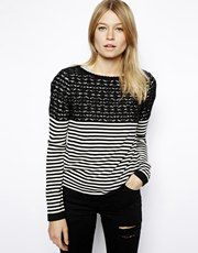 ASOS Jumper In Stripe With Lace