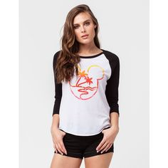Neff Disney Collection Paradise Womens Raglan Tee ($30) ❤ liked on Polyvore featuring tops, t-shirts, neff t shirts, raglan sleeve t shirts, cut off t shirt, baseball graphic t shirts and baseball tees