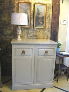 Vintage mahogany cupboard painted in a mix of Annie Sloan Chalk Paint® in Country Grey & French Linen
