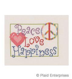 Bucilla ® My Quick Stitch™ - Counted Cross Stitch - Picture Kits - Mini - Peace Love Happiness | Plaid Enterprises