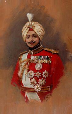 Maharaja Bhupinder Singh oil portrait by Vandyk Royal Indian, Indian Army, Oil Portrait, Color Portrait, Duleep Singh, King Painting, Cafe Art, Indian Folk Art, Indian Tribes