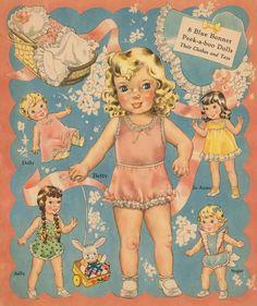 Blue Bonnet Paper Dolls - Merrill Publishing Co., 1942: Page 1 (of 8)