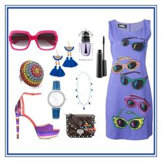 """Sunglass Print Dress..**"" by yagna ❤ liked on Polyvore featuring Jeremy Scott, Shashi, Jimmy Choo, Rosantica, Michael Kors, Gucci, Elizabeth Cole, Valentino, MAC Cosmetics and Guerlain"