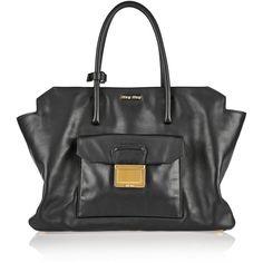 Miu Miu Leather tote (7.950 BRL) ❤ liked on Polyvore featuring bags, handbags, tote bags, black, crossbody handbag, leather crossbody tote, leather cross body purse, evening handbags and handbags totes