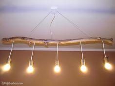 Wooden branch lamp #Branch, #Driftwood, #Light