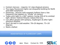 10. DISADVANTAGES OF FLUORESCENT LAMP