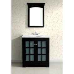$688.99 The 30-inch Louisiana bathroom vanity is defined by its black lacquer finish, brushed nickel knobs and casual contemporary look. This beautiful assembled vanity provides a large storage area behind its two frosted tempered paned glass doors.