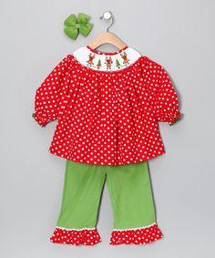 Red Polka Dot Reindeer Ruffle Pants Set - Toddler & Girls
