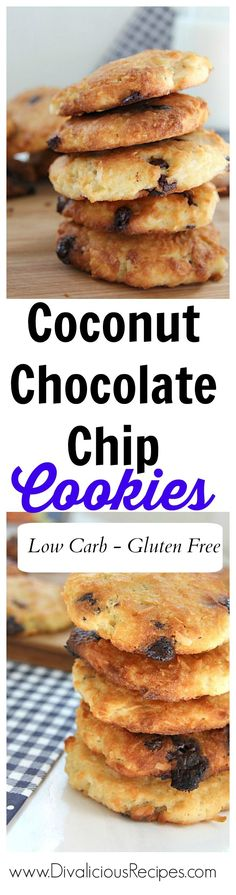 Coconut chocolate chip cookies baked with coconut flour make a delicious chewy cookie.  Full of fibre and taste, they make a great treat.