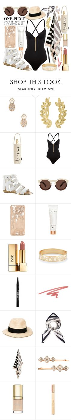"""""""One-Piece Swimsuit"""" by jessica-hearts ❤ liked on Polyvore featuring Sole Society, Eddera, Kate Spade, L'Agent By Agent Provocateur, Fergie, Illesteva, Yves Saint Laurent, Stella & Dot, Trish McEvoy and NARS Cosmetics"""
