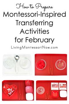 A variety of simple-to-prepare Montessori transferring activities for February, using winter, Valentine's Day, Chinese New Year, and Heart Health Month themes - Living Montessori Now Chinese New Year Activities, New Years Activities, Pre K Activities, Montessori Activities, Infant Activities, Montessori Homeschool, Montessori Classroom, Montessori Materials, Classroom Activities