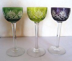 6 anciens grand verres a vin du rhin de couleur en cristal taille boheme. Black Bedroom Furniture Sets. Home Design Ideas