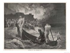 Charon Ferries Dante and Virgil Across the Styx the River