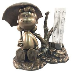 Homestyles #51534 Lucy Rain Gauge Bronze Patina Figurines From The Snoopy  Peanuts Garden Statue Collection