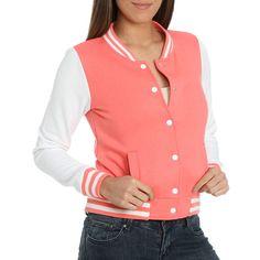 Fleece Baseball Jacket ($20) ❤ liked on Polyvore featuring outerwear, jackets, fleece collar jacket, wet seal jackets, collar jacket, stripe jacket and red fleece jacket