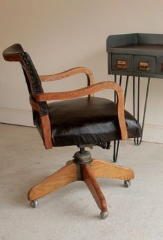 Beautiful Captains chair in aged oak and by TheRetroStationUK Leather Swivel Chair, Desk Chair, Italian Leather, Cool Stuff, Furniture, Beautiful, Home Decor, Decoration Home, Room Decor