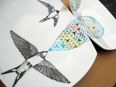 Swallows Geometric Design Plates hand by PerDozenDesign on Etsy, €65.00