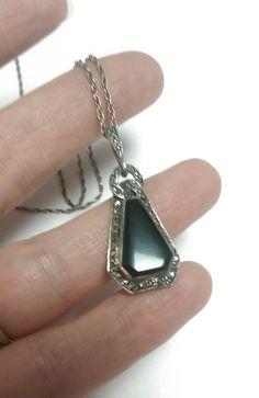 Necklace Pendant Art Deco Black Onyx Gemstone by EmbracetheEarth, $48.00