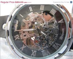 10% OFF Limited Time Sale !     Vintage Mens Mechanical wristwatches Steampunk Watch.    Handmade Genuine Leather wrist Watch, can be made