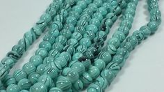 Lot of 2  Teal Swirled Glass Beads 14 inch strands