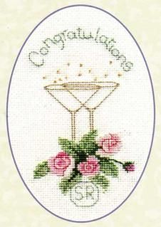 Greeting Card Roses & Champagne Cross Stitch Kit