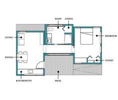 Modern Style House Plan - 1 Beds 1.00 Baths 538 Sq/Ft Plan #507-1 Floor Plan - Main Floor Plan - Houseplans.com
