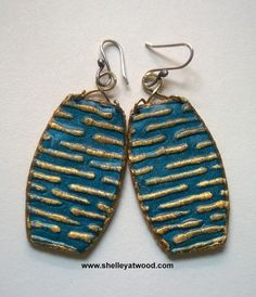 Textured polymer clay earrings by Shelley Atwood. See more at www.shelleyatwood.com.