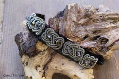 Celtic leather bracelet with coiled Celtic wire by gunadesign
