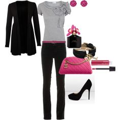 These things would go really well with my black slacks (replace the skinny jeans shown here). Love the black with hot pink!