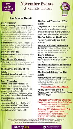 Raunds Library: events and activities during November