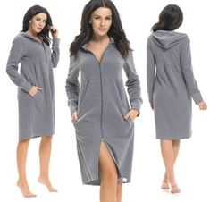 SZLAFROK DAMSKI ZIP ZAMEK KAPTUR BAWEŁNA S 36 Sweaters, Dresses, Fashion, Vestidos, Moda, La Mode, Sweater, Fasion