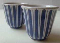 Rye pottery blue stripe egg cups