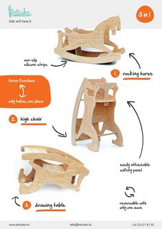 Great ideas for kids: rocking horse, castle, sailship and puppet theatre.