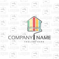 Home Decorator Logo, Colorful Logo, House Logo, Home, 2D logo, Art, Color, Colorful, Red, Yellow,Green, Blue, Black, White, Business, Professional, Vectors, Painter Logo, Painting, Shapes Logo