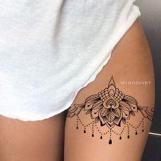 Popular Chandelier Lotus Mandala Thigh Tattoo Ideas for Women - Trending Boho Tr., Popular Chandelier Lotus Mandala Thigh Tattoo Ideas for Women - Trending Boho Tribal Black Henna Leg Tat - loto muslo tatuaje ideas para mujeres - www. Best Tattoos For Women, Trendy Tattoos, Cool Tattoos, Tattoos For Guys, Small Tattoos, Gorgeous Tattoos, Thigh Tattoos For Women, Lace Thigh Tattoos, Tribal Tattoos For Women
