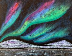 Kathy's AngelNik Designs & Art Project Ideas: Northern Lights Winter Landscape Art Lesson Landscape Art Lessons, School Art Projects, Winter Art Projects, Art Lessons Elementary, Winter Landscape, Oil Pastel Landscape, Art Activities, Oil Pastels, Oil Pastel Art