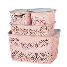 storage box Underwear Underpants Cosmetic Desktop Multifunction Keep Things Box Large Pink Hollow Two Small One Medium One Large Four Piece Set