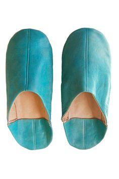 heidi merrick-leather moroccan stack slippers, teal