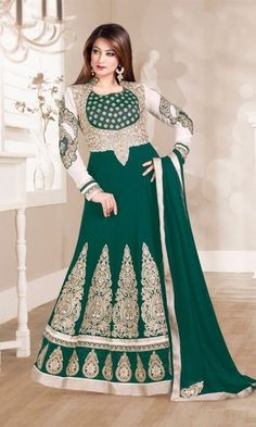 Black & Off White Designer Anarkali Salwar Suit Designer Anarkali, Designer Salwar Kameez, Wedding Salwar Kameez, Long Anarkali Gown, Anarkali Suits, Black Anarkali, Chanderi Suits, Anarkali Churidar, Pakistani Suits