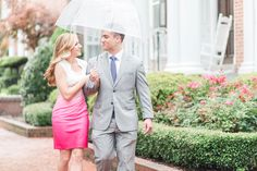 rainy engagment session with umbrella | downtown norfolk virginia freemason district engagement session pictures