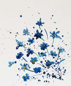 Forget me not flowers, watercolor painting from Radikacolours by DaWanda.com