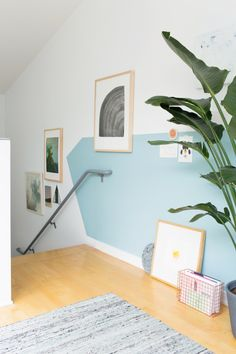 wall Color Office - 31 Days of Color Office Makeover Reveal. Half Painted Walls, Half Walls, Painted Stairs, Metal Stairs, Stair Makeover, Office Makeover, Estilo Tropical, Stair Walls, Home Office Decor