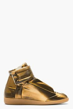 Maison Martin Margiela Copper Glossy Vinyl High-top Sneakers