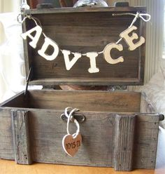 {advice box}Can you imagine the hilarious comments youll get in here? I think a marriage advice box is a must. Wedding Advice Box, Cute Wedding Ideas, Perfect Wedding, Fall Wedding, Wedding Reception, Our Wedding, Dream Wedding, Wedding Inspiration, Reception Games