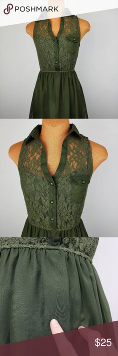 Speechless Olive Green Sleeveless dress 100% polyester, faint marking on front, see photo  Measurements laying flat in inches   chest 17 waist 13-17 max   SEE MY STORE FOR MORE GREAT ITEMS!   I ship everyday! Will receive tracking information within 24-48 hours U016 speechless Dresses Midi