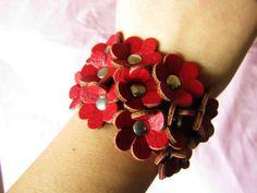 women wine leather with flowers bracelet cuff by braceletcool, $9.00
