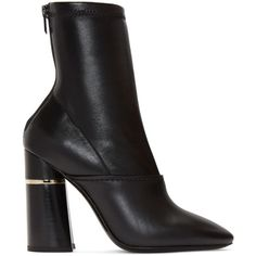 3.1 Phillip Lim Black Kyoto Boots ($490) ❤ liked on Polyvore featuring shoes, boots, mid calf leather boots, black leather shoes, black shoes, stretch shoes and stretch leather shoes